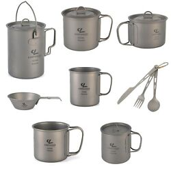 Titanium Camping Cookware Tableware Cutlery Picnic Backpacking Light Weight Pots