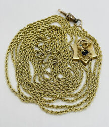 Antique 14k Yellow Gold Snake Garnet Slide Long Watch Rope Chain Necklace 77andrdquo