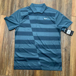 Nike Mens Size M Golf Dry Fit Standard Fit Stripe Polo 655214 995
