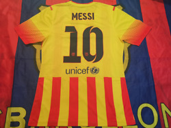 Barcelona 2013-14 Away Messi Match Player Issue Shirtbn Without Tag