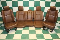 14-18 Ram Crew Longhorn Brown Leather Heated Cooled Power Buckets Backseat Track