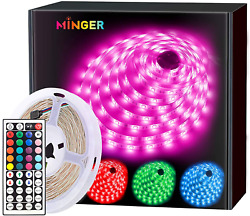 MINGER Led Strip Lights 16.4ft for Home Kitchen Bedroom Dorm Room Remote Co