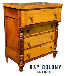 19th C Antique Country Sheraton Pennsylvania Cherry And Tiger Maple Dresser Chest