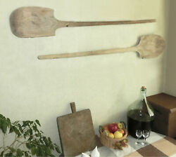 Pair 50 Oversized Primitive 1800and039s Bakery Dough Bread Wooden Board Paddle Peel