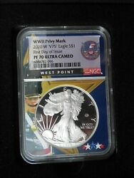 2020-w 'v75' Privy Mark Silver Eagle 1 Ultra Cameo Pf-70 1st Day Of Release