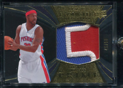 2009 Exquisite Rasheed Wallace Game Used Pistons Gold Logo 3-color Patch /50 Bj1