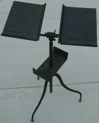 Antique Dannand039s All Steel Book Holder Lectern Register Music Bible Stand Display