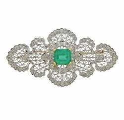One Of A Kind Late Vintage Style Deep Green Emerald And Old Mine Cut Cz Brooch Pin