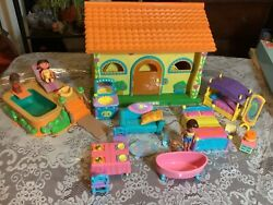 Dora The Explorer Pop-up Talking Doll House With Pool And Accessories