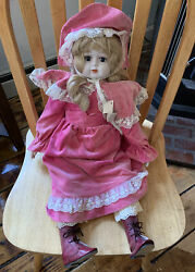 """Schmid Musical Collectible Porcelain Doll 1982 Large 22"""" New With Tags"""
