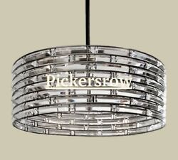 Pottery Barn Regent Curved Glass Crystal Round 28 Chandelierantique Silvernew