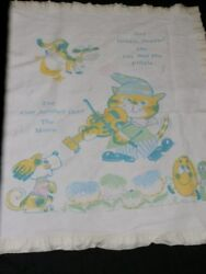 Vintage Baby Blanket Hey Diddle Cow Jumped Over The Moon Nursery Rhyme Blue Yell