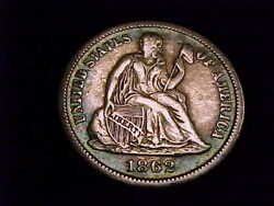 1862-s Seated Liberty Dime, Extra Fine Grade. A Scarce San Francisco Mint Issue