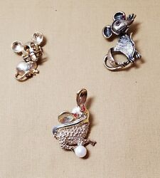 Mice Vintage Lot Of 3 Brooches, 1 Avon, 2 Unmarked