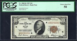 Key Note 1929 10 Frbn ♚♚ Dallas ♚♚ Pcgs Ch About New 58 Very Rare