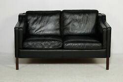 Vintage Danish Mid Century Stouby 2 Person Sofa In Black Leather