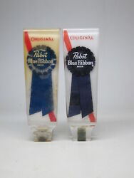 Lot Of 2 Vtg Pabst Blue Ribbon Beer Lucite Tap Handle 6 Tall Super Clear Lucite