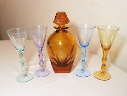 Vintage Cut Crystal Signed Moser Czechoslovakian 5 Pc Colored Glass Decanter Set