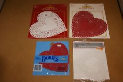 2 Royal Lace 6 Red Paper Heart Doilies Vintage Made In Usa 54 Total