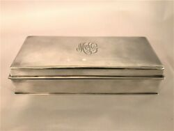 Antique Heavy Sterling Silver Cigarette Playing Cars Box Wood Interior Stunning