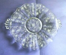 Fostoria Glass Baroque Etched Chintz Handled Cake Plate Platter 10.25 Dia.
