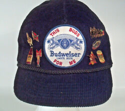 Vintage This Buds For Me Budweiser Cap Hat 8 Pins Clydesdale Bud Man Beer Bottle