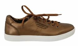 Dolceandgabbana Men Gold Sneakers 100 Leather Lace Up Low Top Athletic Trainers