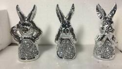 Silver Set Crushed Diamond Rabbits Sparkly Bling Home Decorative Ornament Uk✨