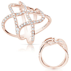 Large 1.28ct Diamond 14kt Rose Gold Classic Multi Row Double Infinity Love Ring