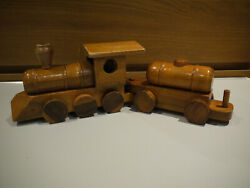 Lovely Vintage Wooden Train Set Made By Deeds Industries Ltd, Jamaica