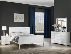 New Queen Or King 4pc Modern White Sleigh Bedroom Set Modern Furniture Bed/d/m/n