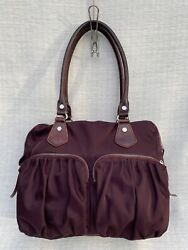 MZ WALLACE Baby Jane BEDFORD 2 Piece Shoulder Nylon Burgundy Leather Trim Bag $54.99