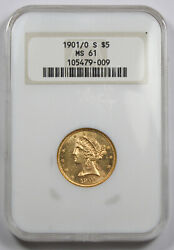 Us 1901/0 S 5 Liberty Half Eagle Gold Coin Ngc Ms61 Unc/bu Old Fatty Holder