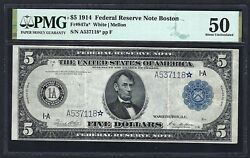 1914 5 Frn Boston ♚star♚ ♚star♚ Pmg About Uncirculated 50