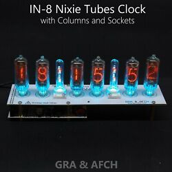 In-8 Nixie Tubes Clock [tubes Columns Temp F/c] 12/24h Slotmachine With Sockets