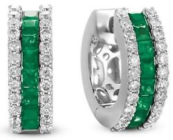 1.32ct Diamond And Aaa Emerald 14kt White Gold 3d 3 Row Huggie Hanging Earrings