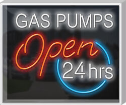 Outdoor Gas Pumps Neon Sign | Jantec | 32 X 27 | Gas Station Old Car Garage