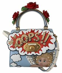 Dolceandgabbana Welcome Multicolor Crossbody Bag Leather Crystal Embroidery Purse
