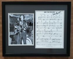 Van Morrison Signed And Framed Have I Told You Lately Sheet Music And 8x10 Photo Jsa