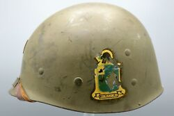 Original Us Wwii / Korea Unit Marked M1 Helmet Liner With Green Buckle Chinstrap