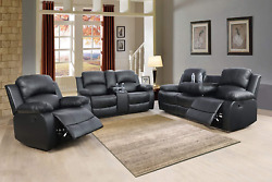 Newsofa Loveseat Chair Black Leather Living Room 5-seater Reclinerand Cupholders