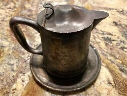 Rare Vintage Benedict Indestructo 1396 Silver Creamer Teapot W/integrated Dish