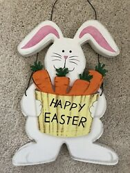 Wooden Bunny Rabbit With Basket Of Carrots Easter Decor