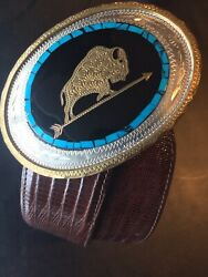 Vintage Johnson And Held J And H Buffalo Buckle W Turquoise And Barnett Lizard Belt