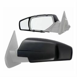 K-source 80910 Towing Mirrors Snap-on Flat Manual Black Pair For Chevy Gmc New
