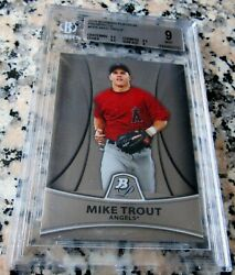 Mike Trout 2010 Bowman Platinum Rookie Card Rc Bgs 9 9.5 Angels Roy As Mvp Hot