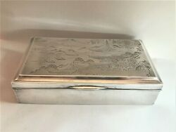 Antique Japanese Sterling Silver Engraved Mixed Metal Cigarette Cards Box