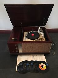 Vintage Silvertone Stereo Record Player Four Speed With Parts Manual And 5 Records