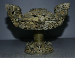 13.2 Rare Antique Bronze Chinois Ware Dynastie Place Dragon Beast Alimentaire