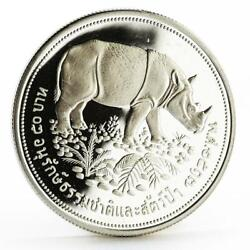 Thailand 50 Baht Wildlife Conservation Series Rhinoceros Silver Proof Coin 1974